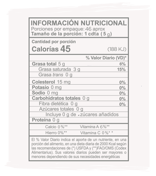 Información Nutricional Ghee Coco