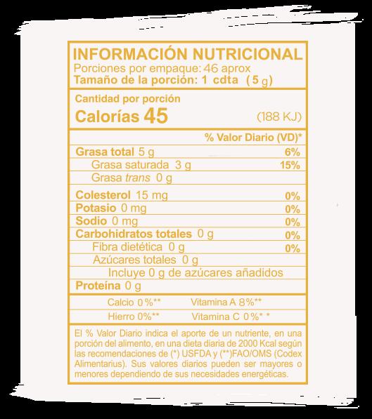 Información Nutricional Ghee Tradicional
