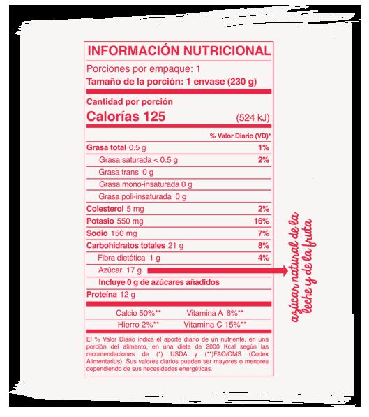 Información Nutricional líquido cereza