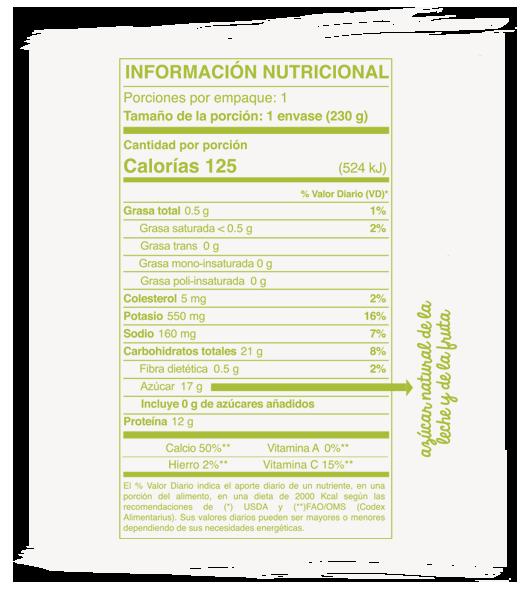 Información Nutricional líquido manzana