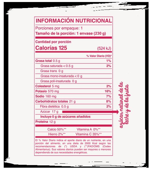 Información Nutricional líquido fresa