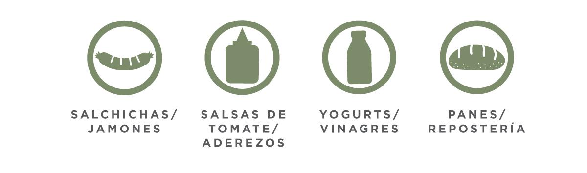 Salchichas/ jamones / Salsas de tomate/ aderezos / Yogurts/ vinagres / panes/ repostería