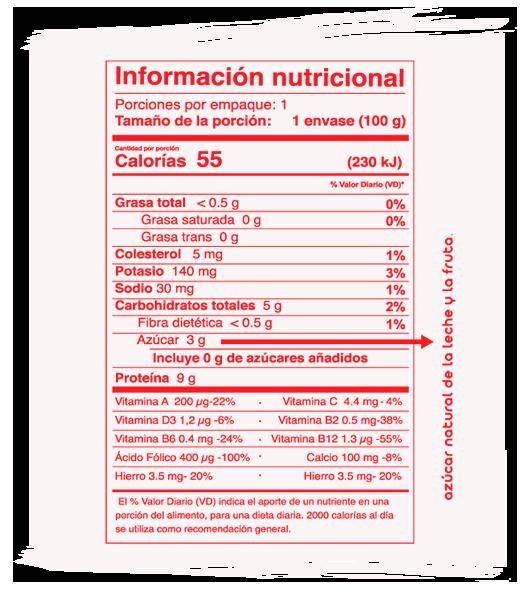 Información Nutricional Nikkos Junior Sabor Fresa