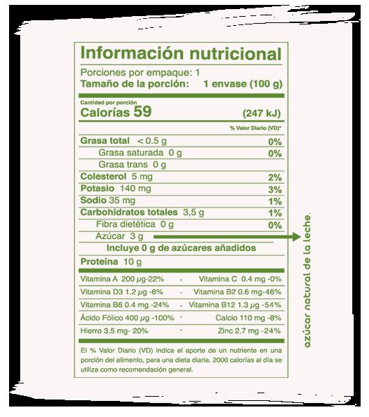 Información Nutricional Junior sabor limón